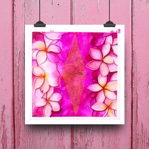Művészi akvarell nyomat - Pink fuvallat - Meska.hu