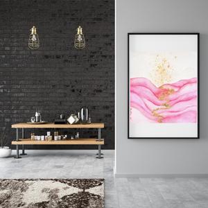 Művészi akvarell nyomat - Rózsszín hullám - Meska.hu