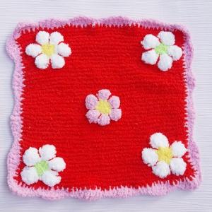 Virágmintás szundi kendő, Játék & Gyerek, 3 éves kor alattiaknak, Alvóka & Rongyi, Horgolás, Kötés, Pihe puha bababarát fonalból kötöttem ezt az egyedi  kis szundi kendőt, melynek mérete kb. 24 x 24  ..., Meska