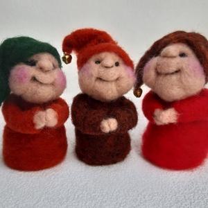 """Fohászkodó manócskák, Otthon & lakás, Dekoráció, Ünnepi dekoráció, Karácsony, Karácsonyi dekoráció, Nemezelés, Mindenmás, A három kis manócska fohásza:\n\n\""""Szentelj időt az álmodozásra - kösd szekered egy csillaghoz. Szentel..., Meska"""