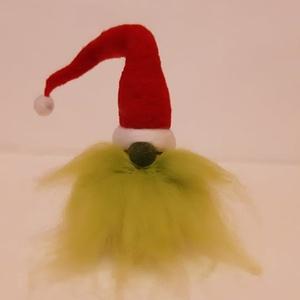 Zöld szakállú grincs manó avagy gnómocska, Otthon & lakás, Dekoráció, Ünnepi dekoráció, Karácsony, Karácsonyi dekoráció, Mindenmás, Nemezelés, Talán itt még önellentmondásnak is tűnhet, mégis ez a kis zöld szakállú grincs manó/gnóm emlékeztet ..., Meska