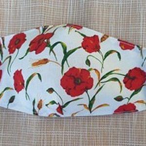 Pipacs mintás, könnyű, tavaszi/nyári design szájmaszk, Táska, Divat & Szépség, Szépség(ápolás), Maszk, szájmaszk, Varrás, Pamutvászonból készült, két rétegű, pipacs mintás textil szájmaszk.\n  A maszk belül fehér, kívül min..., Meska