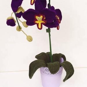 Lila horgolt orchidea, Dekoráció, Otthon & Lakás, Horgolt & Csipketerítő, Horgolás, Mindenmás, Horgolt, lila színű orchidea kaspóba rögzítve.\nMagassága kaspóval együtt kb. 46 cm.\n\nSzobadísznek aj..., Meska