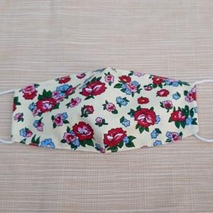 Virág mintás design pamutvászon szájmaszk, Táska, Divat & Szépség, Szépség(ápolás), Maszk, szájmaszk, Varrás, Pamutvászonból készült, két rétegű, virág mintás textil szájmaszk.\n  A maszk belül fehér, kívül mint..., Meska