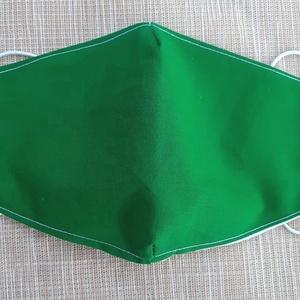 Zöld nagy méretű szájmaszk, Táska, Divat & Szépség, Szépség(ápolás), Maszk, szájmaszk, NoWaste, Varrás, Pamutvászonból készült, két rétegű, zöld textil szájmaszk.\n  A maszk belül fehér, kívül zöld.  Mosha..., Meska