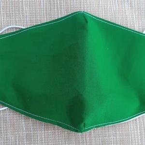 Zöld szájmaszk közepes, NoWaste, Otthon & lakás, Táska, Divat & Szépség, Szépség(ápolás), Maszk, szájmaszk, Varrás, Pamutvászonból készült, két rétegű, zöld textil szájmaszk.\n  A maszk belül fehér, kívül zöld.  Mosha..., Meska