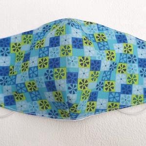 Kék-zöld mintás unisex szájmaszk (nagy méret), Otthon & lakás, Táska, Divat & Szépség, Szépség(ápolás), Maszk, szájmaszk, Férfiaknak, Varrás, Mindenmás, Pamutvászonból készült, két rétegű, kék, zöld mintás textil szájmaszk.\n  A maszk belül fehér, kívül ..., Meska