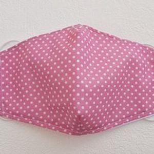 AKCIÓS, rendkívül kedvező áron - Rózsaszín alapon fehér pöttyös szájmaszk, NoWaste, Táska, Divat & Szépség, Szépség(ápolás), Maszk, szájmaszk, Varrás, Mindenmás, Pamutvászonból készült, két rétegű, rózsaszín  alapon fehér pöttyös textil szájmaszk, rendkívül kedv..., Meska