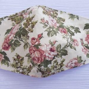 Rózsa mintás női szájmaszk, NoWaste, Táska, Divat & Szépség, Szépség(ápolás), Maszk, szájmaszk, Mindenmás, Varrás, Pamutvászonból készült, két rétegű, rózsa mintás textil szájmaszk. \nA maszk belül fehér, kívül mintá..., Meska