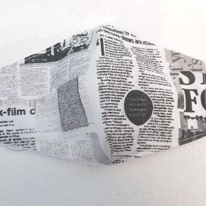 Újságpapír mintázatú női maszk, szájmaszk, arcmaszk, Női, Maszk, Arcmaszk, Varrás, Pamutvászonból készült, két rétegű, újságpapír mintázatú női textil szájmaszk.\n  A maszk belül fehér..., Meska