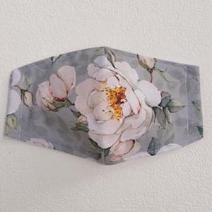 Szürke alapon rózsa mintás nő maszk, szájmaszk, NoWaste, Táska, Divat & Szépség, Szépség(ápolás), Maszk, szájmaszk, Varrás, Mindenmás, Pamutvászonból készült, két rétegű, szürke alapon rózsa mintás design textil szájmaszk. \nA maszk bel..., Meska