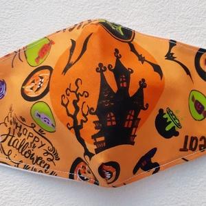 Halloween uniszex maszk, szájmaszk, Férfi & Uniszex, Maszk, Arcmaszk, Varrás, Pamutvászonból készült, két rétegű, narancssárga alapon Halloween mintás textil design uniszex  száj..., Meska