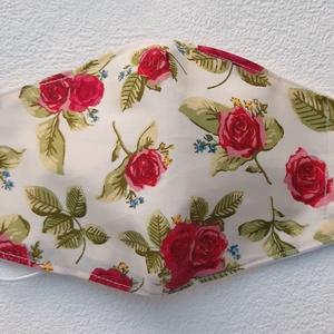 Burgundi rózsás női maszk, szájmaszk, Női, Maszk, Arcmaszk, Varrás, Pamutvászonból készült, két rétegű, világos alapon piros rózsa mintás textil design női  szájmaszk. ..., Meska
