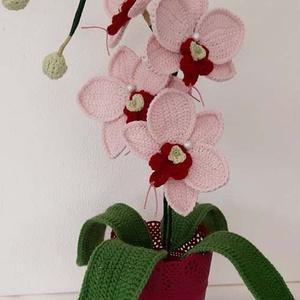 Horgolt púder rózsaszín  orchidea , Otthon & Lakás, Dekoráció, Asztaldísz, Horgolás, Mindenmás, Horgolt, púder rózsaszín  orchidea kaspóba rögzítve.\nMagassága kaspóval együtt kb. 44 - 45 cm.\n\nSzob..., Meska