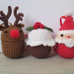 """Téli \""""meglepetés\""""- horgolt rénszarvas, télapó és muffin, Játék & Gyerek, Horgolás, Horgolt  rénszarvas, télapó és karácsonyi muffin szettben. Újrahasznosított kindertojás-belsőre horg..., Meska"""