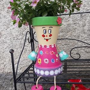 Cserép baba virágtartó, Otthon & lakás, Dekoráció, Lakberendezés, Kaspó, virágtartó, váza, korsó, cserép, Festett tárgyak, Mindenmás, Dobd fel a kerted egy egyedi virágtartóval! Cserépből készült cuki emberkék, több méretben és színbe..., Meska