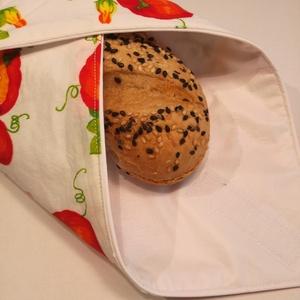 Szendvicsbatyu (sütőtökös), Otthon & lakás, Konyhafelszerelés, 30 x 30 cm textilszalvéta, mely kívülről pamutvászon, belülről vízálló anyagból készül. Tépőzárral z..., Meska