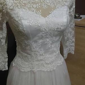 Csipke boleró, Esküvő, Menyasszonyi ruha, Varrás, a képen látható három negyedes ujjú csipke boleró eladó 36-38 as méretre  azzonnal  ettől eltérő mé..., Meska