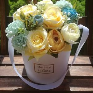 Nyári asztaldísz, virágdoboz, pedagógusnapra, Otthon & Lakás, Dekoráció, Dísztárgy, Virágkötés, Születésnapra, névnapra, pedagógusnapra szép ajándék lehet., Meska