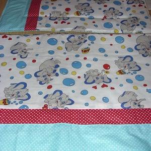 Bélelt ovis - gyerek - Elefántos - pöttyös patchwork uni ágynemű szett nagy takaróval - kiságy széles párnával, Otthon & Lakás, Szett kiságyba, Lakástextil, Varrás, Meska