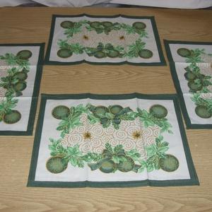 Karácsonyi 4 db-os tányéralátét szett, vagy textil szalvéta- ajándékba is, Karácsony, Karácsonyi lakásdekoráció, Varrás, Meska