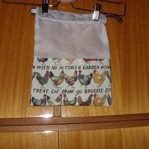 Tyúkos és sok más mintás szütyők, zsákok, tasakok., újra használható, mosható Zöldülj Te is, Táska & Tok, Zöldség/Gyümölcs zsák, Bevásárlás & Shopper táska, Varrás, Meska