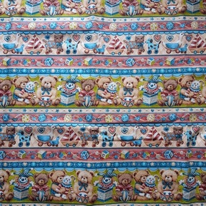 Csupa mackó- csíkban mintás - USA design textil 110 cm széles  1,2 m egyben - textil - pamut - Meska.hu