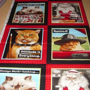 8 blokkos cicás fotó nyomatos  - USA design textil  - 110 x 60 cm, Textil, Pamut, Mindenmás, Varrás, Textil,  USA design - Egyedi tervezésű - jogdíjas textil\n\nTextil - akár - patchwork - anyag\n\n100% pamut\n\n8 b..., Meska