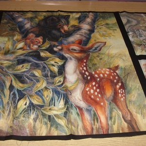 5 blokkos erdei állatos nagy panel  - USA design textil  - 110 x 60 cm, Textil, Pamut, Mindenmás, Varrás, Textil,  USA design - Egyedi tervezésű - jogdíjas textil\n\nTextil - akár - patchwork - anyag\n\n100% pamut\n\n5 b..., Meska