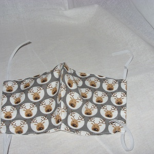 Cuki rénszarvas mintás  maszk - arcmaszk - szájmaszk  Limitált darabszám, Maszk, Arcmaszk, Varrás, Meska