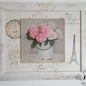 Régi képkeret újragondolva, Párizs rózsái, Dekoráció, Otthon & lakás, Kép, Lakberendezés, Falikép, Horgolás, Festett tárgyak,  Régi képkeret, kézzel horgolt rózsák, dekupázs , pici transzfer és lőn varázslat, átalakult vintage..., Meska