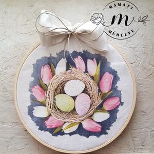Húsvéti vászonkép kopogtató,választható mintával,tábla, dekoráció, kép, kézzel készült, Otthon & Lakás, Dekoráció, Falra akasztható dekor, Decoupage, transzfer és szalvétatechnika, Virágkötés, Az egyszerűség jegyében készült kopogtató \nvászon alapra készült ez  húsvéti csendélet melyet végül ..., Meska