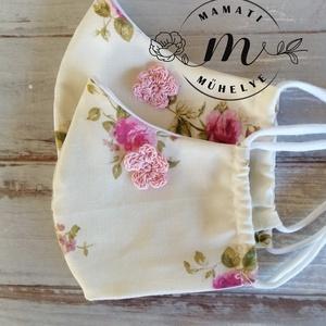 Romantikus anya-lánya maszk horgolt virággal díszítve, választható mintával, Otthon & Lakás, Kép & Falikép, Dekoráció, két rétegű arcmaszk pamutvászonból, pamut fonalból horgolt virággal díszítve , igazi romantikus cucc..., Meska