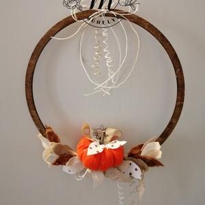 Tökös őszi karika ablakdísz ,kopogtató,fali dísz, 28 cm, Otthon & Lakás, Ajtódísz & Kopogtató, Dekoráció, Virágkötés, Meska