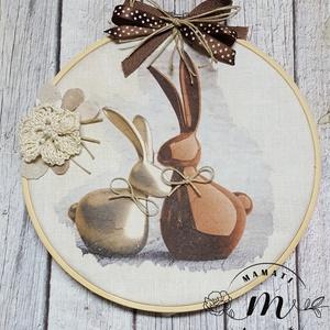 """Húsvéti vászonkép kopogtató,tábla, dekoráció, kép, kézzel készült, """"csoki nyuszik"""", Otthon & Lakás, Dekoráció, Falra akasztható dekor, Az egyszerűség jegyében készült kopogtató  vászon alapra készült ez  húsvéti csendélet melyet végül ..., Meska"""