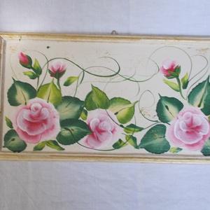 Virágos festmény, vintage stílusban., Dekoráció, Otthon & lakás, Képzőművészet, Festmény, Akril, Festészet, Farost lemezre készült eredeti akrilfestmény.\nEgylendület technikával festett virágok.\nMérete: 27 x ..., Meska