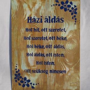 Házi áldás - síkból kiemelkedő, fényes betűkkel és mintával - otthon & lakás - spiritualitás & vallás - házi áldás - Meska.hu