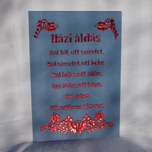 Házi áldás - síkból kiemelkedő, metál, (fémes hatású) betűkkel és mintával, Otthon & Lakás, Spiritualitás & Vallás, Házi áldás, Festett tárgyak, Festészet, 30x21 cm méretű rétegelt lemez táblára kerül a házi áldás szövege, 3D technikával.\nA háttér matt, a ..., Meska
