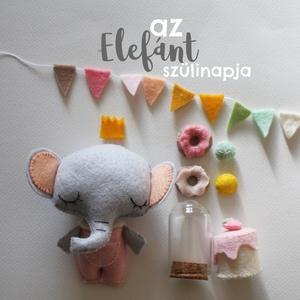 Születésnapi ajándék, elefánt, Elefánt, Plüssállat & Játékfigura, Játék & Gyerek, Varrás, Elefánt szülinapja, Meska