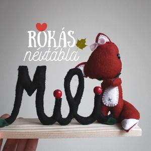Névtábla rókás, Gyerek & játék, Gyerekszoba, Baba-mama kellék, Baba falikép, Varrás, Rókás névtábla, Meska