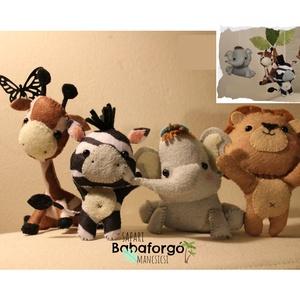 BABAFORGÓ, szafari, zsiráf, elefánt, oroszlán, pálmafa, zebra, babaváró, babaszoba, baba, mancsicsi, Játék & Gyerek, Baba & babaház, Varrás, Üdv Mancsicsi Boltjában!\n\nEz a kézzel készült szafaris babaforgó 2011-ben született és nagyon sikere..., Meska