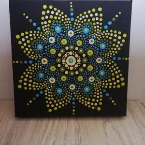 A nyugalom szigete - Mandala festmény, Művészet, Festmény, Akril, Festészet, Festett tárgyak, 15x15 cm vászonkép, mely akril festékkel, potozó technikával  készült. \nSzíneivel segít az  elégedet..., Meska