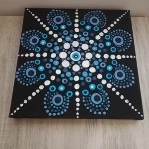 A nyugalom tengere - Mandala, Művészet, Festmény, Akril, Festészet, Festett tárgyak, 15x15 cm vászonkép, mely akril festékkel, potozó technikával készült.\n\nA festményen használt különbö..., Meska