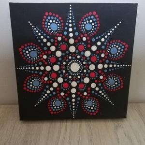 Harmatos pirkadat - Mandala, Művészet, Festmény, Akril, Festett tárgyak, Festészet, 15x15 cm vászonkép, mely akril festékkel, potozó technikával készült.\nÉlénk, vidám, üde színeivel a ..., Meska