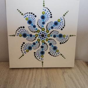 Tavaszi szellő -  Mandala, Művészet, Festmény, Akril, Festett tárgyak, Festészet, 15x15 cm vászonkép, mely akril festékkel, potozó technikával készült.\nA mandala  különleges mintája ..., Meska