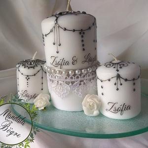 Ezüst Ünnepi gyertya , Gyertya & Gyertyatartó, Dekoráció, Esküvő, Festett tárgyak, Gyertya-, mécseskészítés, Esküvői GYERTYA CEREMÓNIA csodaszép kelléke. \nKézzel festett gyertya szett szalaggal,csipkével díszí..., Meska