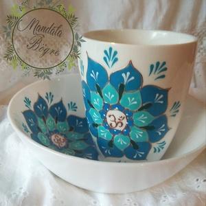 """Kék \""""relax\"""" reggeliző szett, Otthon & lakás, Konyhafelszerelés, Bögre, csésze, Festett tárgyak, Kézzel festett mandalás reggeliző készlet.\nMűzlis tálkát és egy 2,5 dl bögrét tartalmaz.\nKÉK Az égbo..., Meska"""