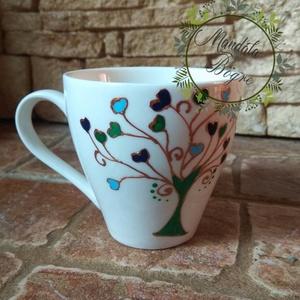 Életfa kávés csésze klasszikus darab, Otthon & lakás, Konyhafelszerelés, Bögre, csésze, Festett tárgyak, Kézzel festett kávés csésze . 1,5 dl\nKávé imádóknak készült...aki csak egy eszpresszóra vágyik.\nSzül..., Meska