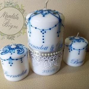 Esküvői gyertya szett , Ünnepi gyertya kék festéssel, Gyertya & Gyertyatartó, Dekoráció, Esküvő, Festett tárgyak, Esküvői GYERTYA CEREMÓNIA csodaszép kelléke.\nKézzel festett gyertya szett szalaggal,csipkével díszít..., Meska