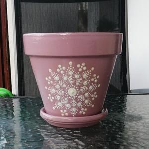 Mandala virágcserép , Otthon & Lakás, Dekoráció, Asztaldísz, Festett tárgyak, Mennyivel jobban mutat a virág egy ilyen cserépben ami már önmagában is ajándék lehet.\nMindkettő 15-..., Meska